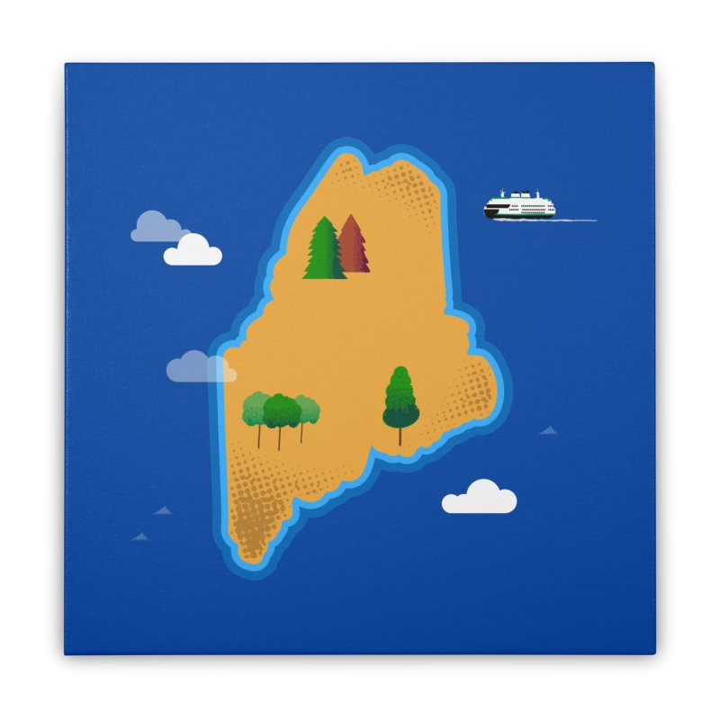 Maine Island Home Stretched Canvas by Illustrations by Phil