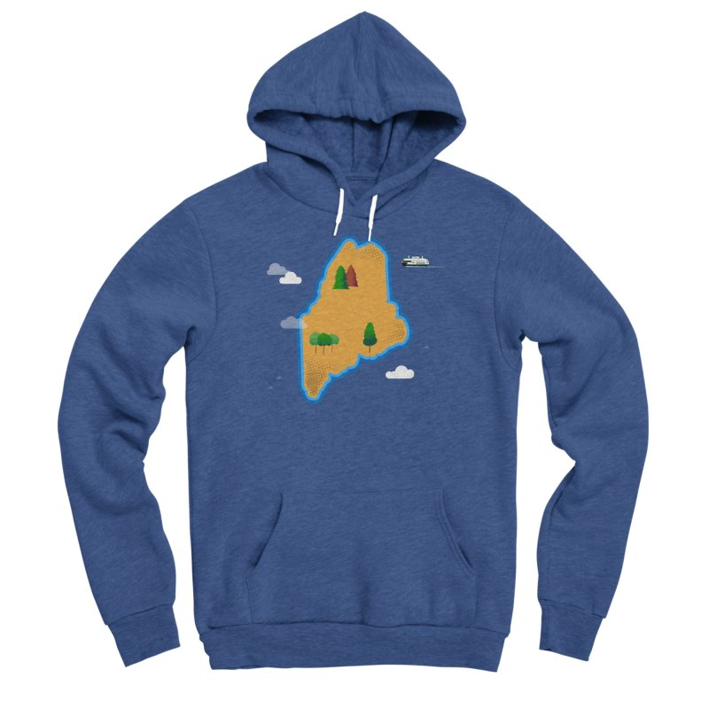 Maine Island Men's Sponge Fleece Pullover Hoody by Illustrations by Phil