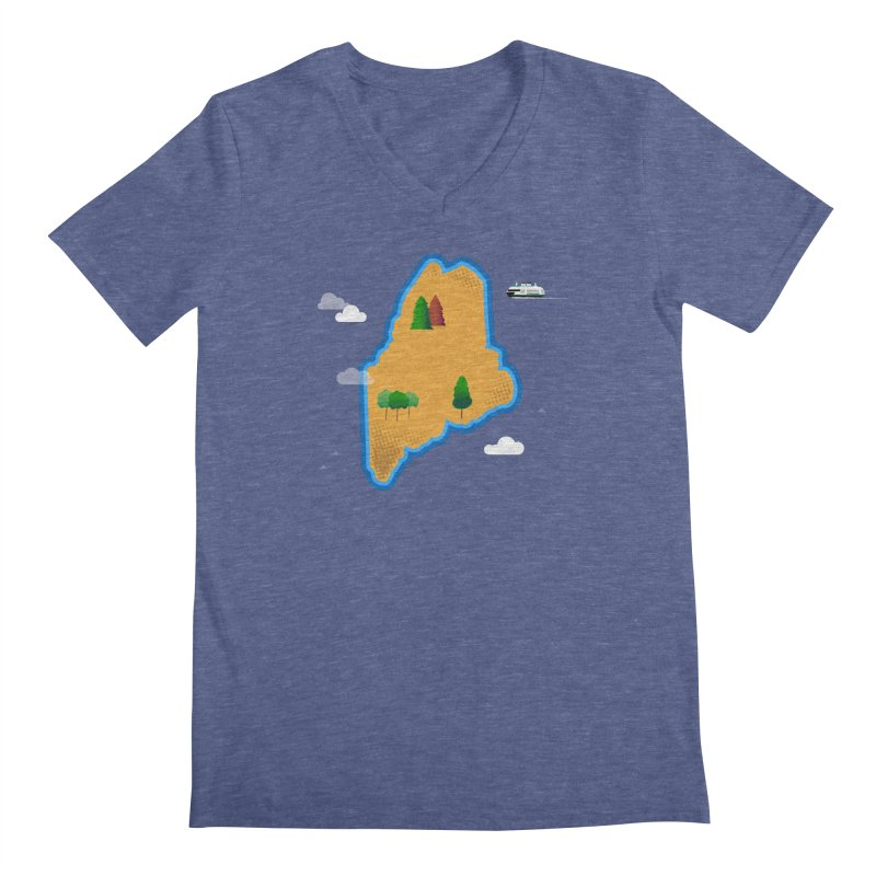 Maine Island Men's Regular V-Neck by Illustrations by Phil