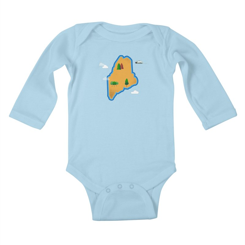 Maine Island Kids Baby Longsleeve Bodysuit by Illustrations by Phil