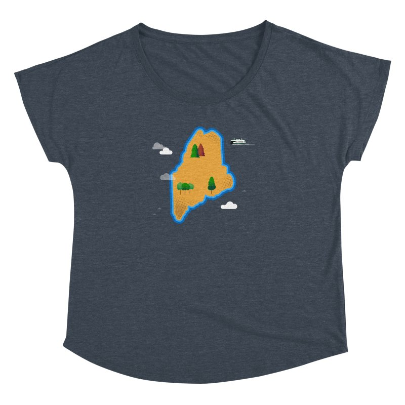 Maine Island Women's Dolman Scoop Neck by Illustrations by Phil