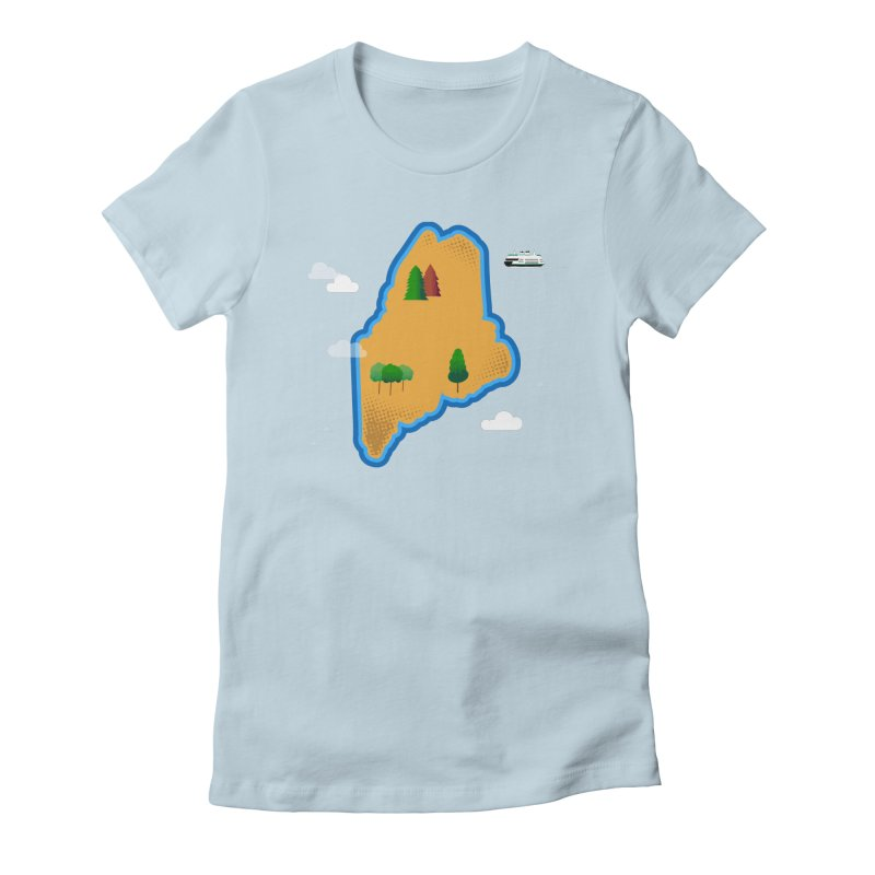 Maine Island Women's Fitted T-Shirt by Illustrations by Phil