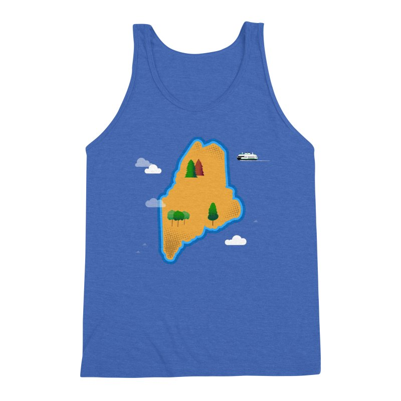 Maine Island Men's Triblend Tank by Illustrations by Phil