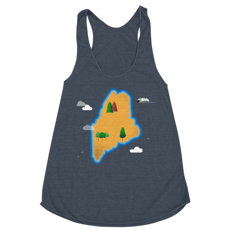 Maine Island Women's Racerback Triblend Tank by Illustrations by Phil