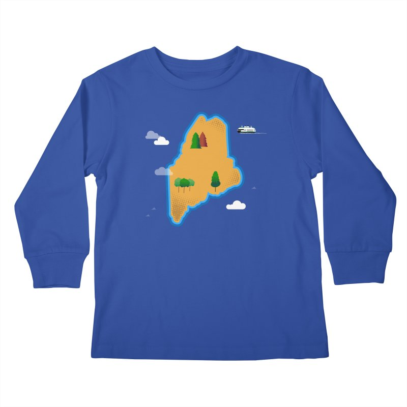 Maine Island Kids Longsleeve T-Shirt by Illustrations by Phil