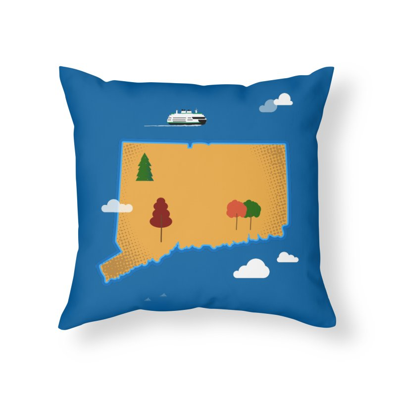 Connecticut Island Home Throw Pillow by Illustrations by Phil
