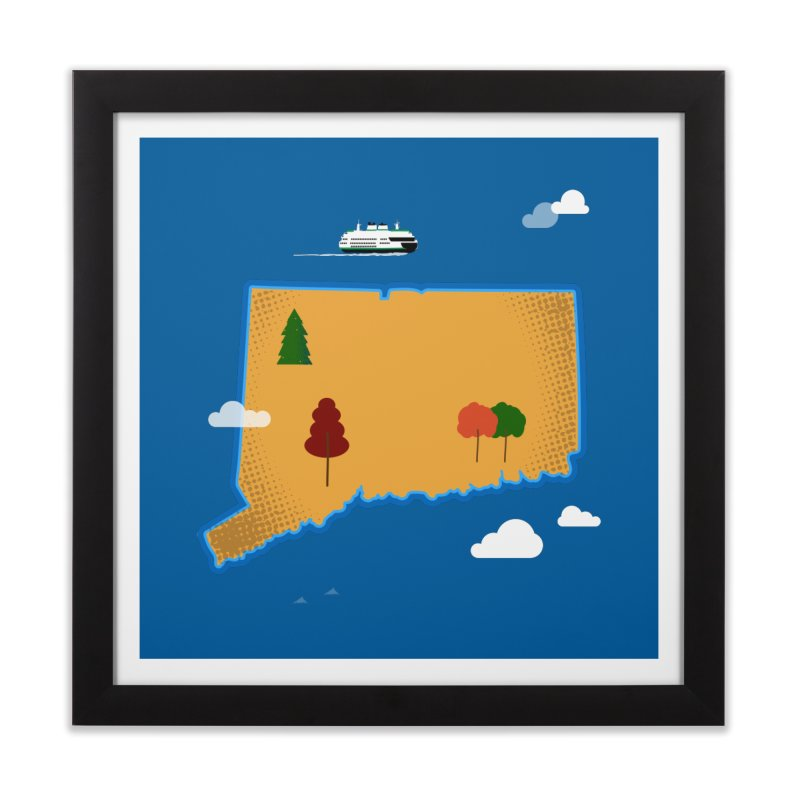 Connecticut Island Home Framed Fine Art Print by Illustrations by Phil