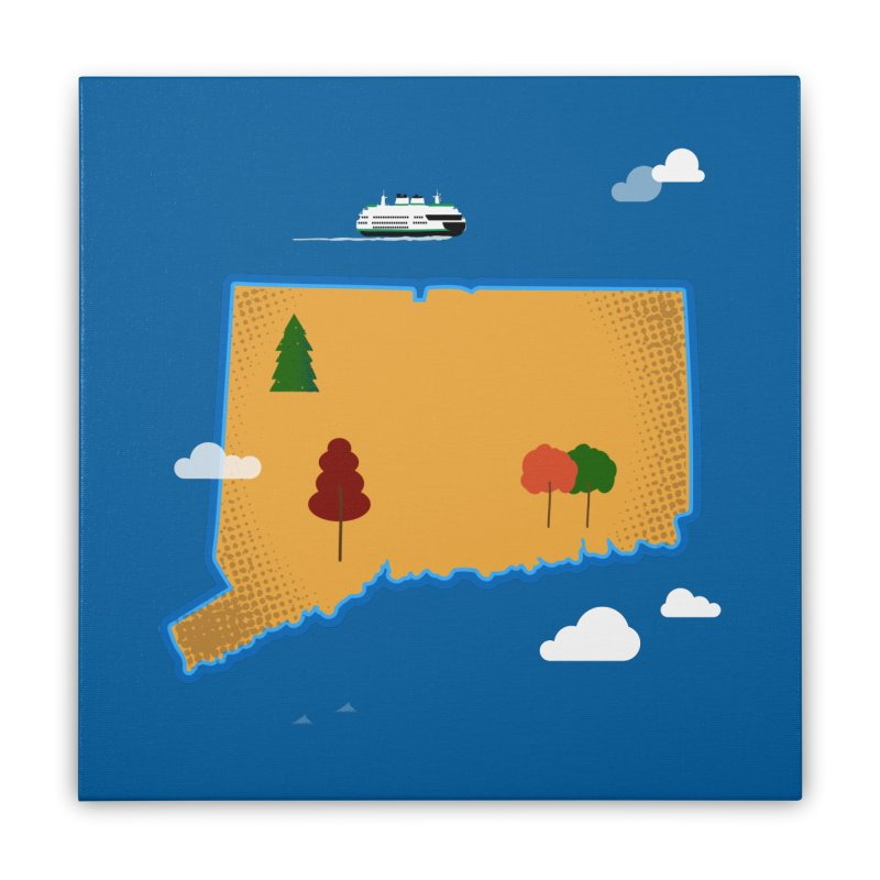 Connecticut Island Home Stretched Canvas by Illustrations by Phil