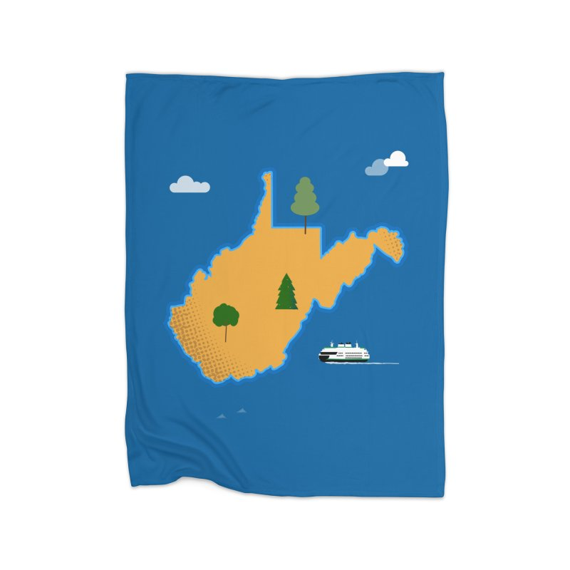 West Virginia Island Home Fleece Blanket Blanket by Illustrations by Phil