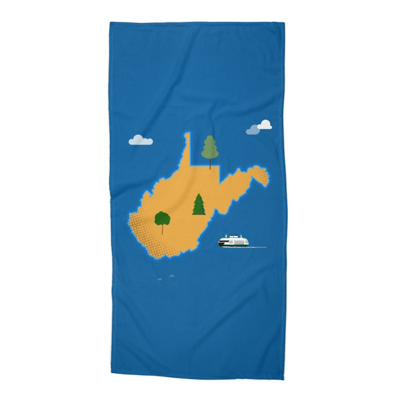 West Virginia Island Accessories Beach Towel by Illustrations by Phil