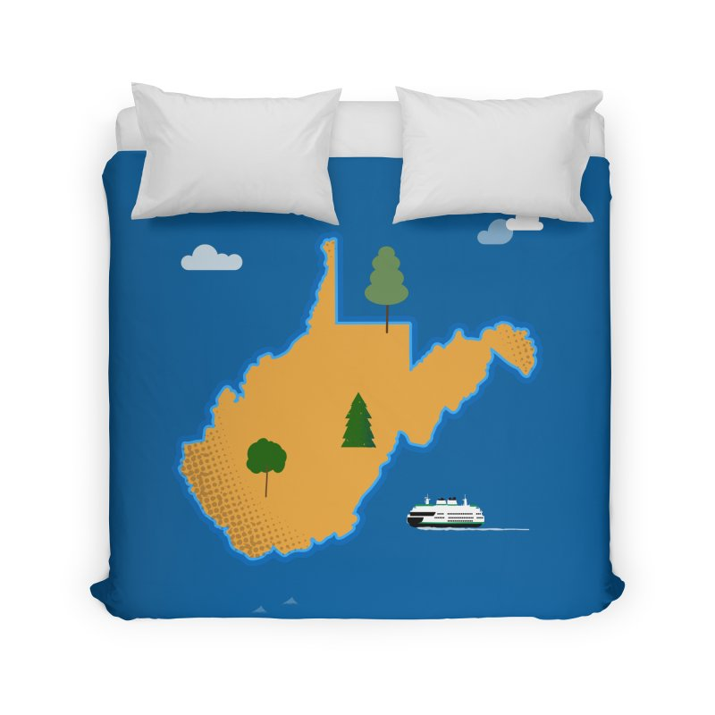 West Virginia Island Home Duvet by Illustrations by Phil