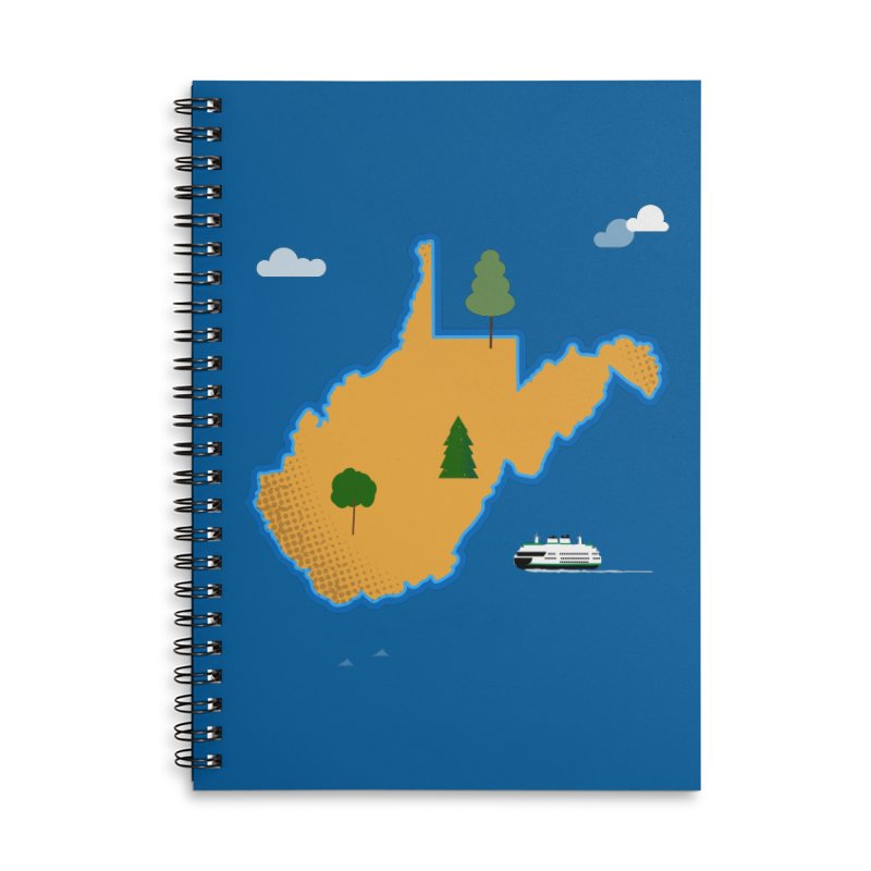 West Virginia Island Accessories Lined Spiral Notebook by Illustrations by Phil