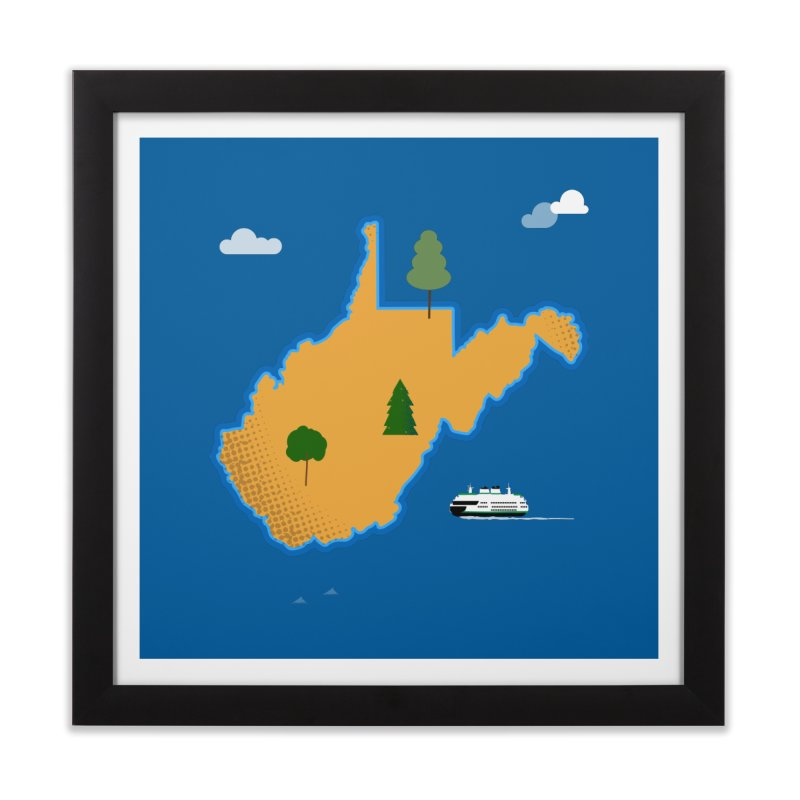 West Virginia Island Home Framed Fine Art Print by Illustrations by Phil
