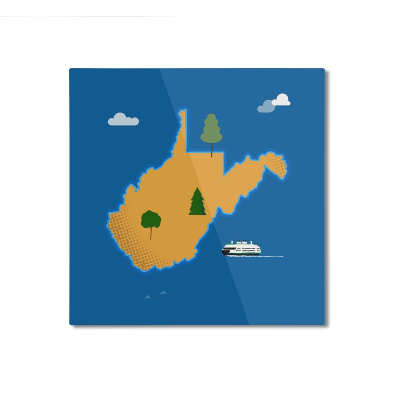 West Virginia Island Home Mounted Aluminum Print by Illustrations by Phil