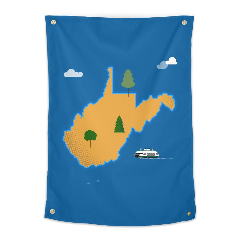 West Virginia Island Home Tapestry by Illustrations by Phil