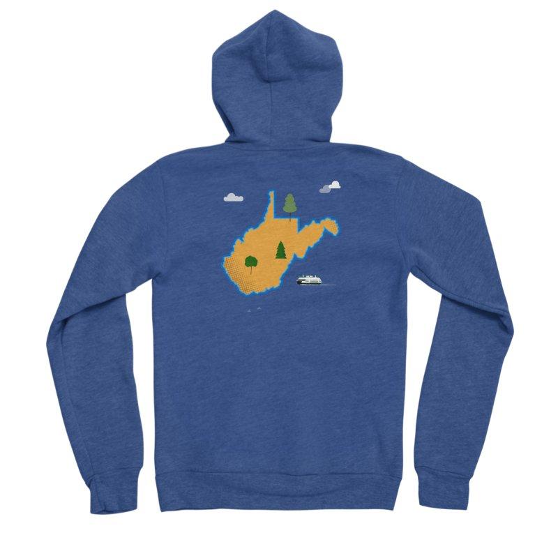 West Virginia Island Men's Sponge Fleece Zip-Up Hoody by Illustrations by Phil