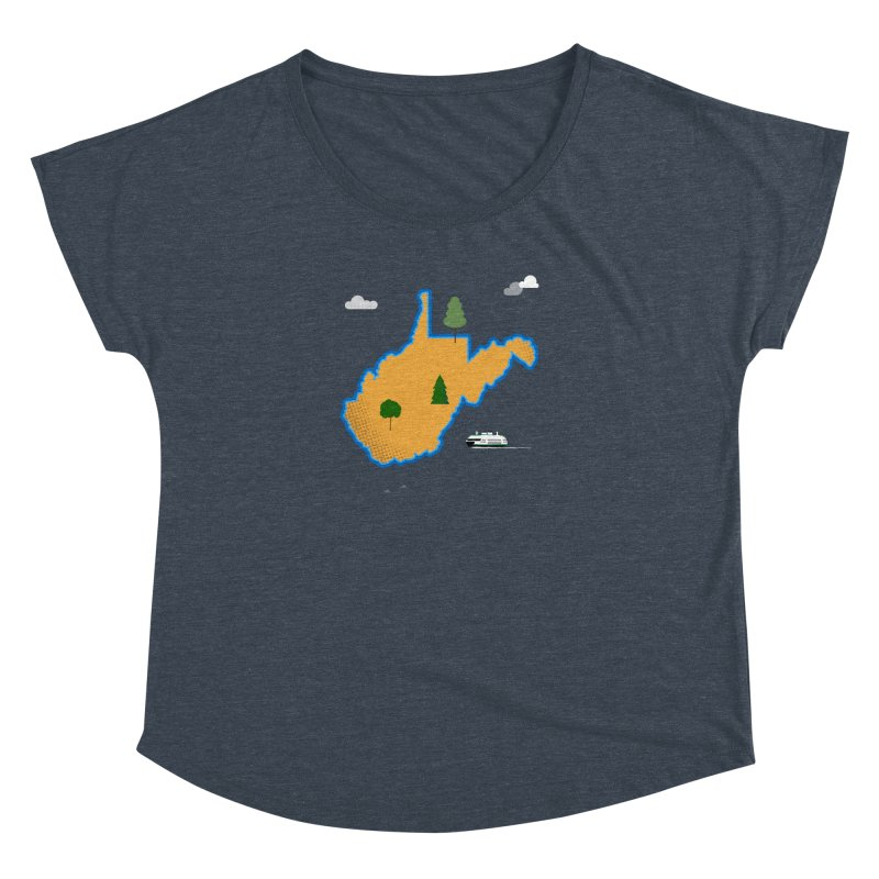 West Virginia Island Women's Dolman Scoop Neck by Illustrations by Phil