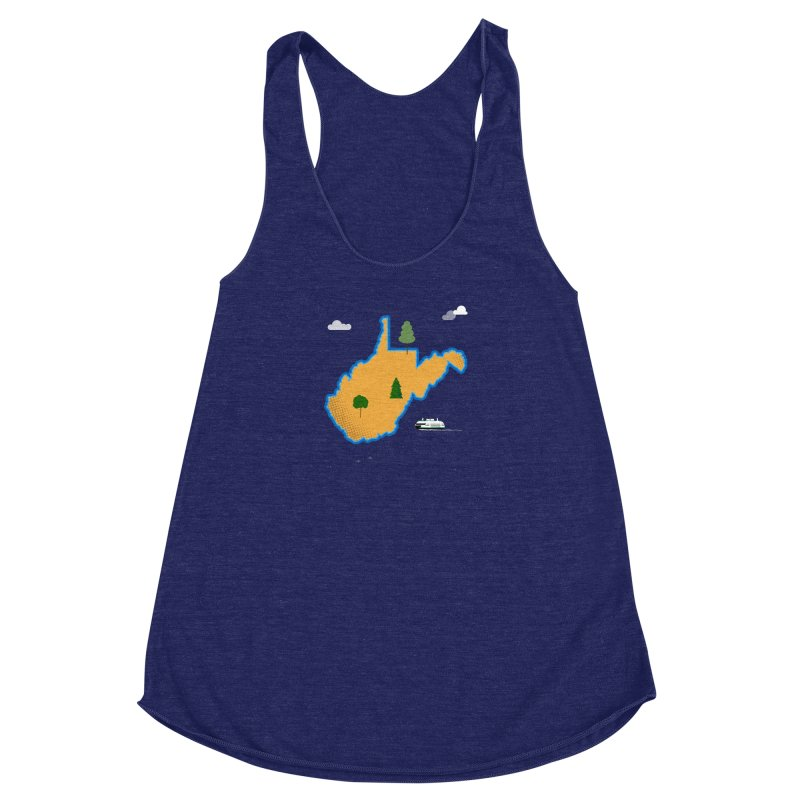 West Virginia Island Women's Racerback Triblend Tank by Illustrations by Phil