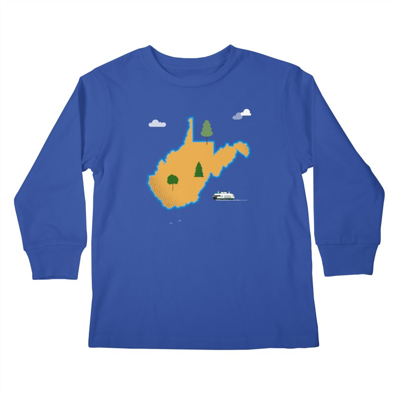 West Virginia Island Kids Longsleeve T-Shirt by Illustrations by Phil