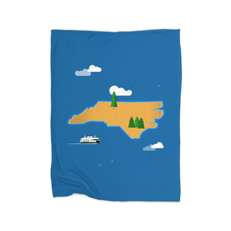 North Carolina Island Home Fleece Blanket Blanket by Illustrations by Phil