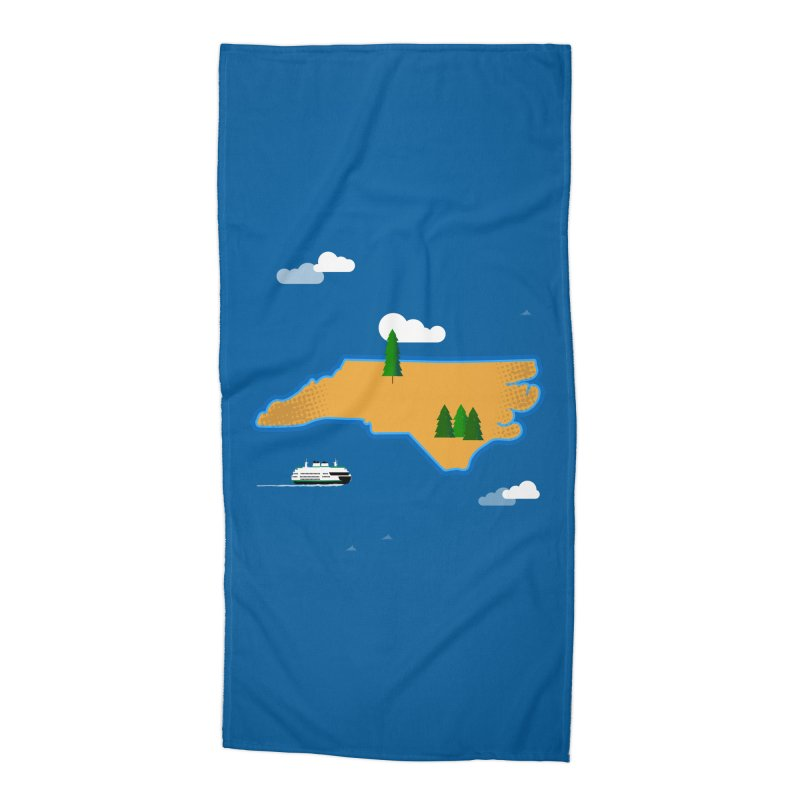 North Carolina Island Accessories Beach Towel by Illustrations by Phil