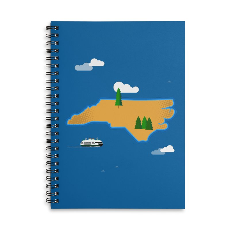 North Carolina Island Accessories Lined Spiral Notebook by Illustrations by Phil