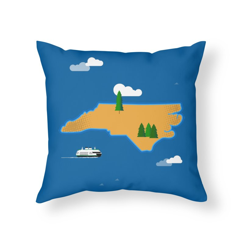 North Carolina Island Home Throw Pillow by Illustrations by Phil
