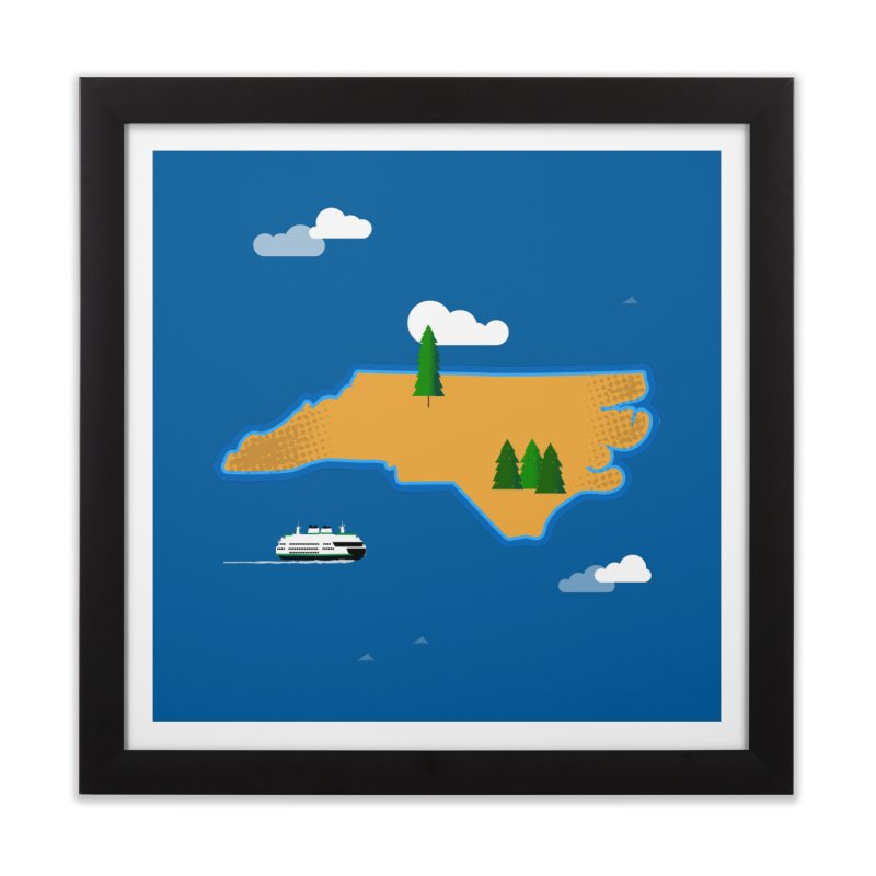 North Carolina Island Home Framed Fine Art Print by Illustrations by Phil