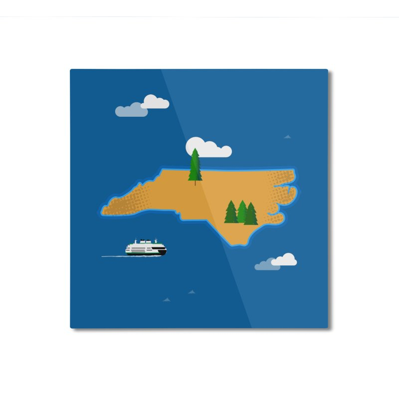 North Carolina Island Home Mounted Aluminum Print by Illustrations by Phil