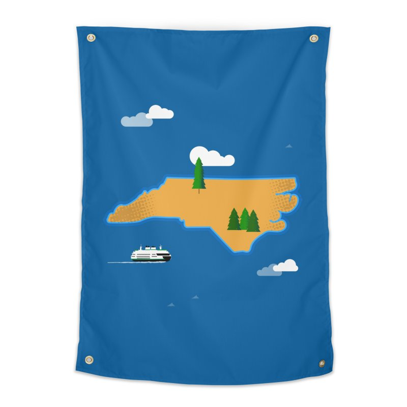 North Carolina Island Home Tapestry by Illustrations by Phil