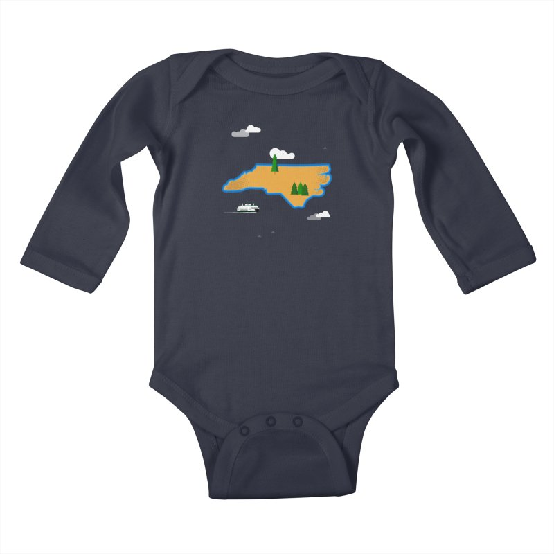 North Carolina Island Kids Baby Longsleeve Bodysuit by Illustrations by Phil