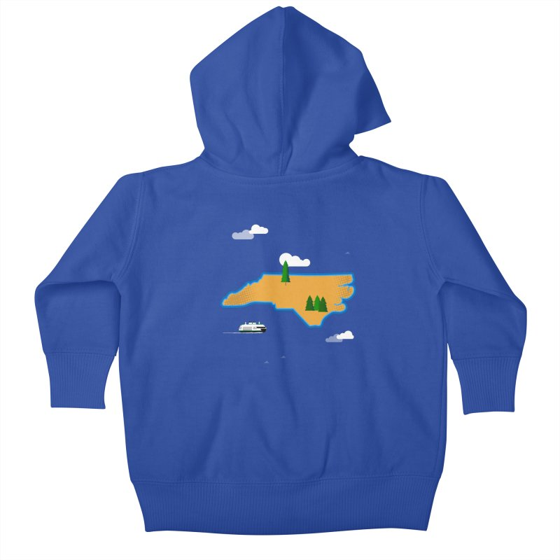 North Carolina Island Kids Baby Zip-Up Hoody by Illustrations by Phil