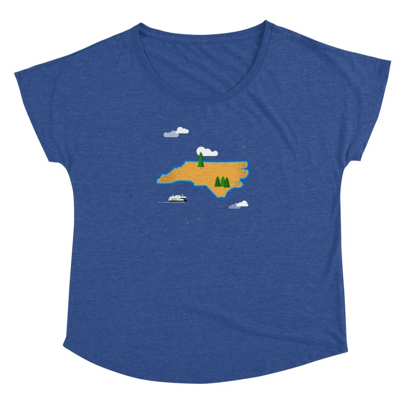 North Carolina Island Women's Dolman Scoop Neck by Illustrations by Phil