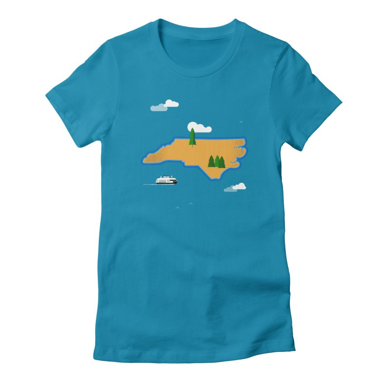 North Carolina Island Women's Fitted T-Shirt by Illustrations by Phil