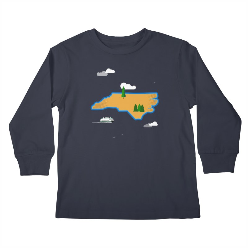 North Carolina Island Kids Longsleeve T-Shirt by Illustrations by Phil