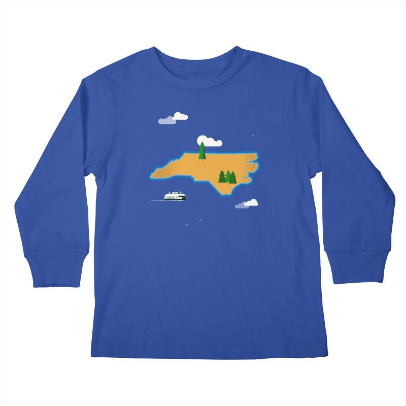 North Carolina Island Kids Longsleeve T-Shirt by Illustrations by Phil