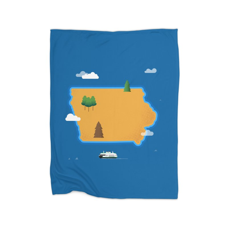 Iowa Island Home Fleece Blanket Blanket by Illustrations by Phil