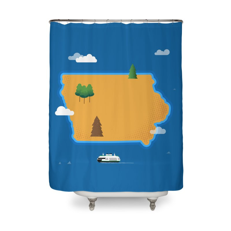 Iowa Island Home Shower Curtain by Illustrations by Phil