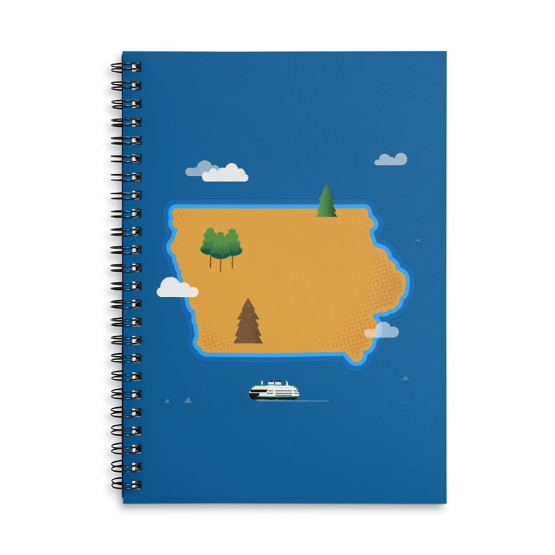 Iowa Island Accessories Lined Spiral Notebook by Illustrations by Phil