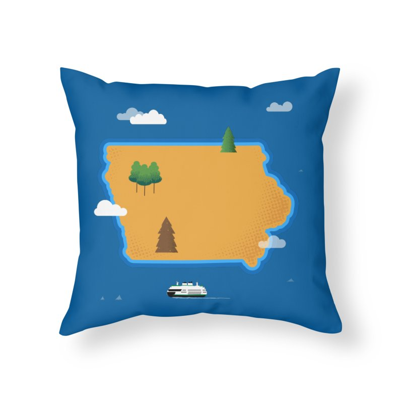 Iowa Island Home Throw Pillow by Illustrations by Phil