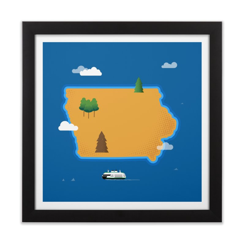 Iowa Island Home Framed Fine Art Print by Illustrations by Phil