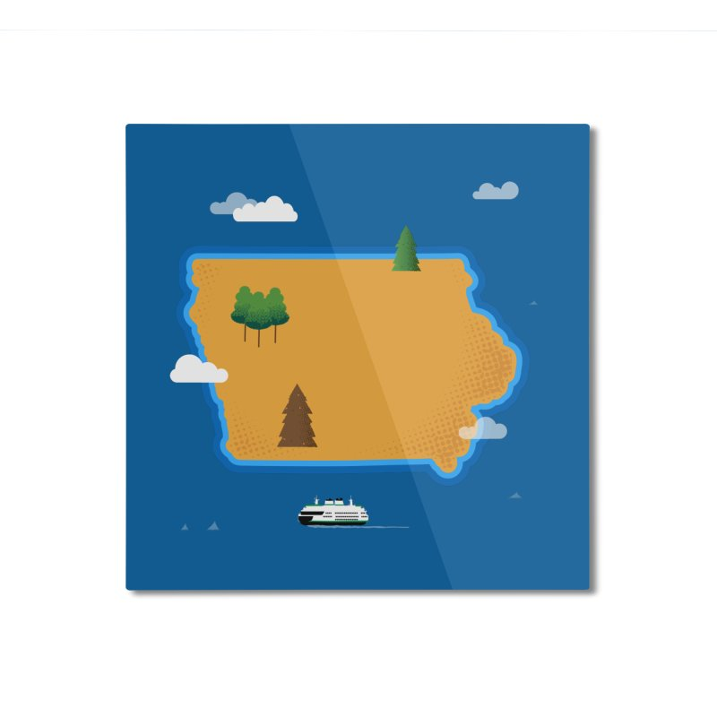 Iowa Island Home Mounted Aluminum Print by Illustrations by Phil