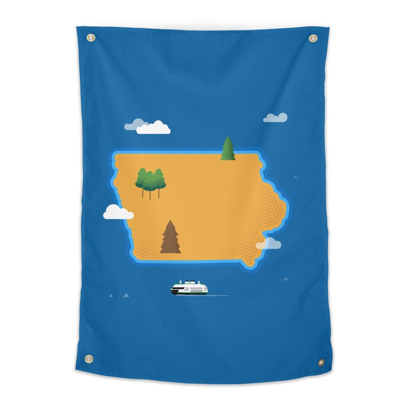 Iowa Island Home Tapestry by Illustrations by Phil