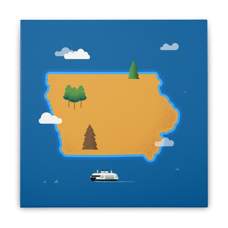 Iowa Island Home Stretched Canvas by Illustrations by Phil