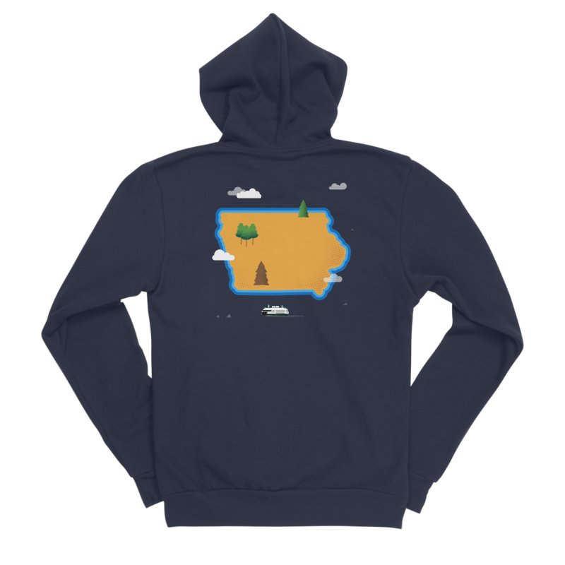 Iowa Island Men's Sponge Fleece Zip-Up Hoody by Illustrations by Phil