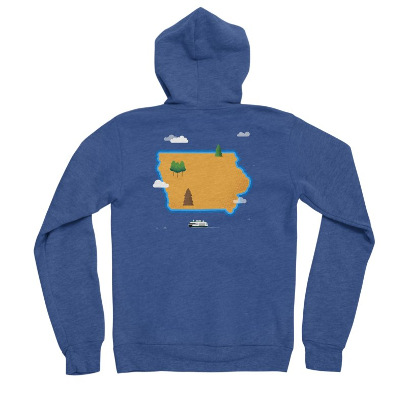 Iowa Island Men's Zip-Up Hoody by Illustrations by Phil