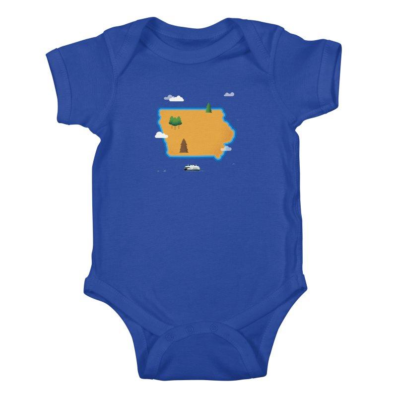 Iowa Island Kids Baby Bodysuit by Illustrations by Phil