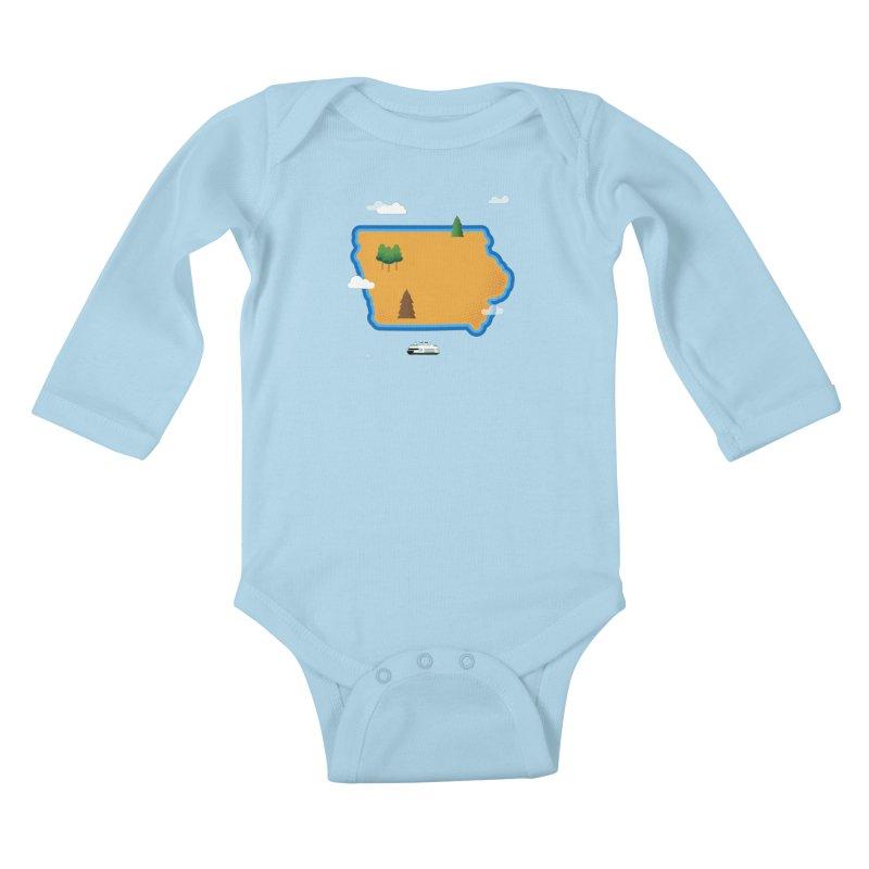 Iowa Island Kids Baby Longsleeve Bodysuit by Illustrations by Phil
