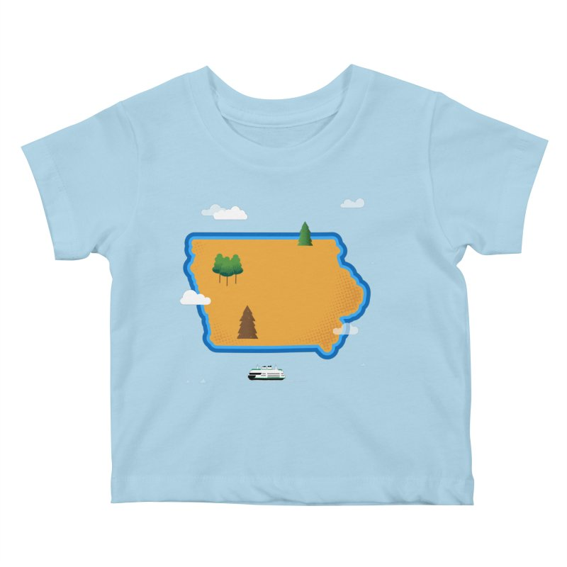 Iowa Island Kids Baby T-Shirt by Illustrations by Phil