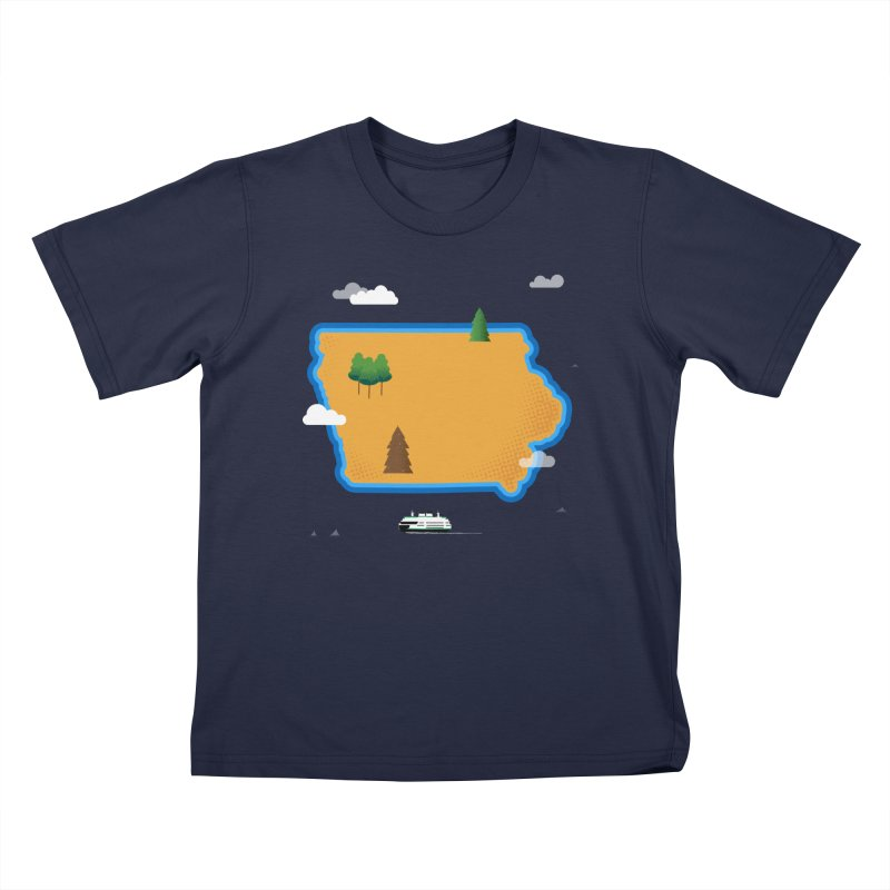 Iowa Island Kids T-Shirt by Illustrations by Phil